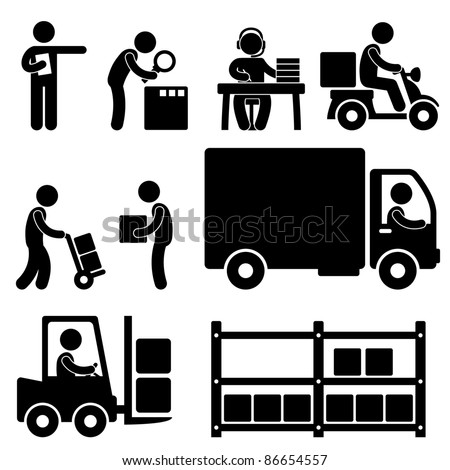 Logistic Warehouse Delivery Shipping People Icon Sign Symbol Pictogram