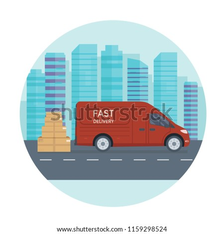 Logistics and delivery service concept: truck, lorry, van with store, shop and city background. Postal service creative banner design. Vector flat illustration