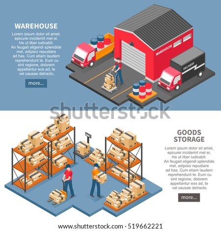 Logistics and delivery two horizontal banners with  warehouse and goods storage isometric compositions flat vector illustration