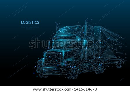 Logistics and distribution low poly wireframe banner template. Polygonal international shipment and delivery service mesh art illustration. 3D truck, lorry transportation with connected dots
