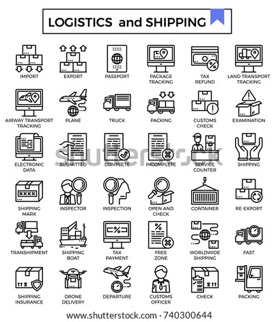 Logistics and shipping icon set.