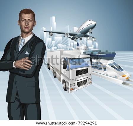 Logistics business concept background. Businessman, aeroplane truck, train, cargo ship and city.