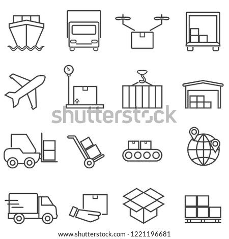 Logistics, cargo and shipping line icon set