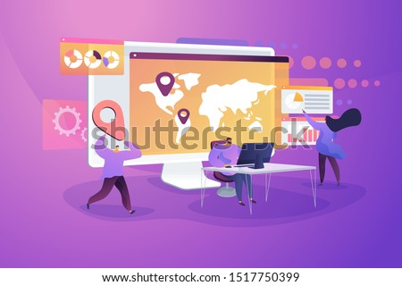 Logistics center, franchising vector illustration. International business, company branch opening, worldwide import and export concept. Analysts team planning expansion strategy cartoon characters
