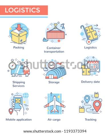 Logistics concept icons, thin line, flat design