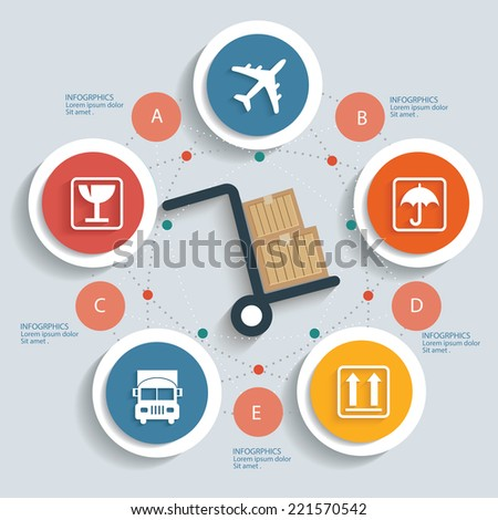 Logistics concept info graphic design clean vector