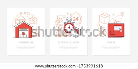 Logistics concept - line design style banners set with place for text. E-commerce idea. Warehouse, express delivery, parcel linear icons. Cargo package, safe storage and transportation services