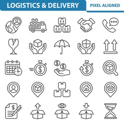 Logistics, Delivery, Shipping Icons. Professional, pixel perfect icons, EPS 10 format.
