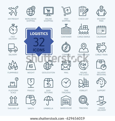 Logistics, delivery, transportation - outline web icon set, vector, thin line icons collection