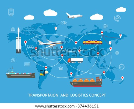 Logistics flat global transportation concept. Transportation over world map. Vector illustration