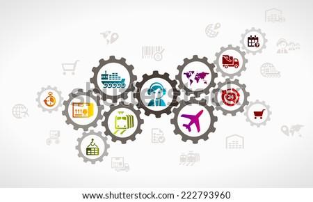 Logistics icon set . Delivery concept illustration