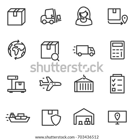 Logistics, icon set, transportation and delivery of goods.line with editable stroke.Collection of linear icons