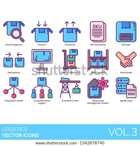 Logistics icons including inspection, parcel in, out, SKU description, barcode, discrepancy, breakage, overflow shipment, shelf capacity, handshake, distribution center, consumer direct, crane, data.