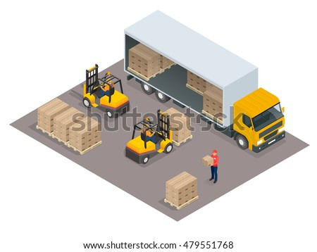 Logistics. Isometric infographic element or icon representing box truck and forklift loading pallets with cardboard boxes.