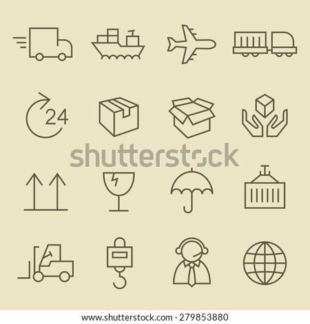 Logistics line icon set