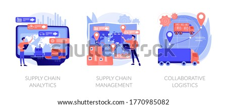 Logistics operations control, delivery service administration. Supply chain analytics, supply chain management, collaborative logistics metaphors. Vector isolated concept metaphor illustrations.