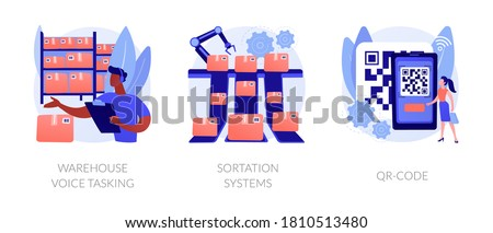 Logistics order processing abstract concept vector illustration set. Warehouse voice tasking, sortation system, QR code, automated paperless operation, conveyor, automated inventory abstract metaphor.
