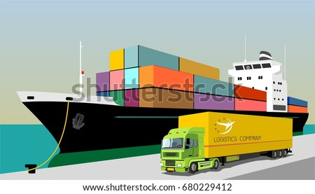 logistics port, ship, freight, warehouse, terminal, loading, unloading, truck, container ocean, sea, delivery truck lorry seaport truck transport logistics trucking car trailer cargo transportation