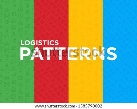 Logistics seamless pattern with thin line icons: forklift loader, conveyor belt, container, storage, cardboard box, return, cargo delivery, mover, worldwide shipping. Vector illustration.