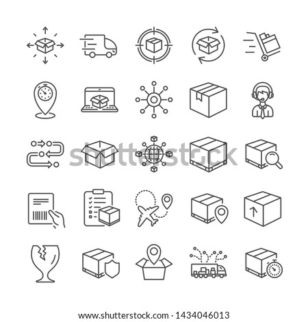 Logistics, Shipping document line icons. Set of Truck Delivery box, Checklist icons. Parcel tracking shipping, World trade logistics. Location pin, Goods parcel insurance and document. Vector