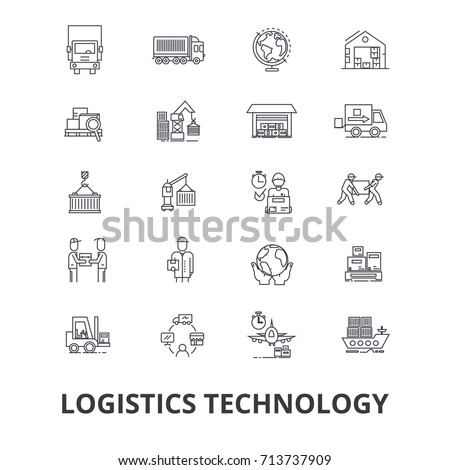 Logistics technology, transport, supply chain, delivery system, warehouse, cargo line icons. Editable strokes. Flat design vector illustration symbol concept. Linear isolated signs