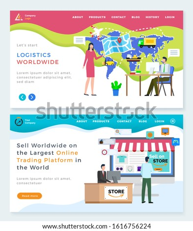 Logistics worldwide and online trading platform vector. People working with products and orders of clients, map with location and cargo status. Website or webpage template, landing page flat style