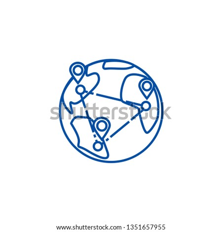 Logistics, worldwide delivery line icon concept. Logistics, worldwide delivery flat  vector symbol, sign, outline illustration.