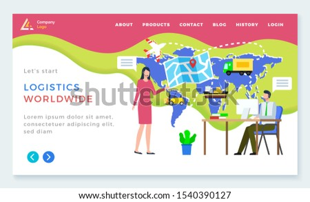 Logistics worldwide, man and woman communication with computer, international delivery. Shipping tracking on map, send parcel, business and e-commerce. App slider or webpage template, landing page