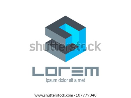 Logo Abstract Logic puzzle cubeVector icon Editable.