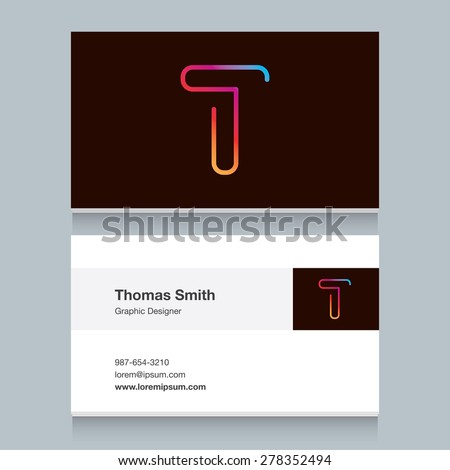 "Logo alphabet letter ""T"", with business card template. Vector graphic design elements for your company logo."