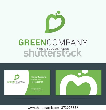 Logo and business card template for ecological, nature company. Vector illustration.