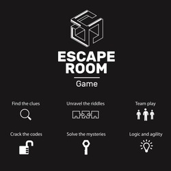 Logo and icons for quest escape room game.