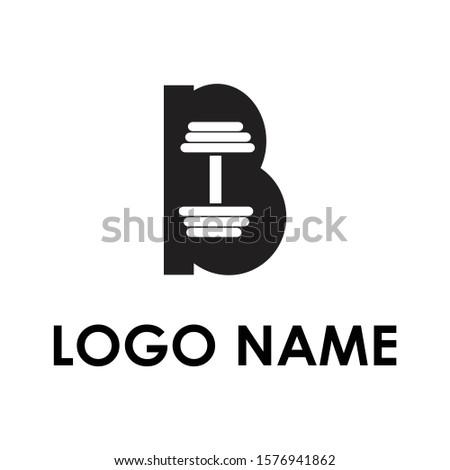 Logo B barbells negative illustration