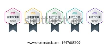 Logo badge for certificate technical, analyst, internet, data, conference, etc. Digital certified logo verified achievements company or corporate with hexagon ribbon design. Vector illustration. Foto stock ©
