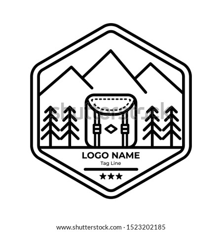 logo badges mountain with line