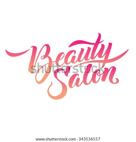 Logo Beauty Salon Lettering. Custom handmade calligraphy, vector