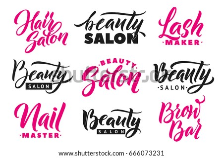 Logo Beauty Salon Lettering Set. Brow Bar and Nail Studio Inscriptions. Lash Maker and Hair Salon Words. Custom handmade calligraphy, vector
