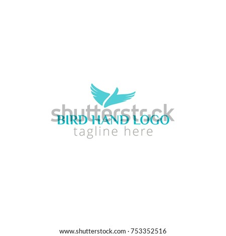 logo bird hand for social programs, consulting, animal release, landscaping, lawyer, struggle for rights, pet shop, flight, airline, help. Logo vector illustration