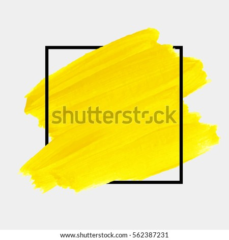Logo brush painted yellow watercolor background. Art abstract brush paint texture design acrylic stroke over square frame vector illustration. Perfect design for headline and sale banner.