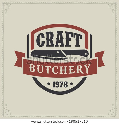 logo butcher restaurant meat knife cow retro styled vector labels of butcher shop logo butcher restaurant meat knife cow beef animal classic product ranch cutlery isolated pig natural kill aliment mar