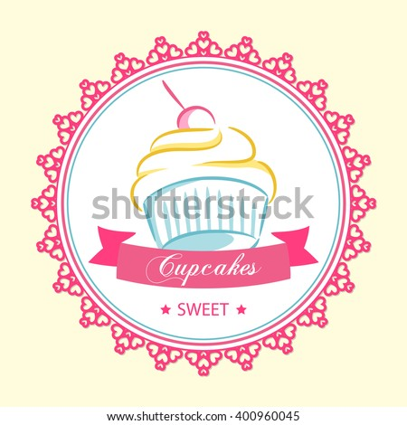 logo centered sweet cupcake