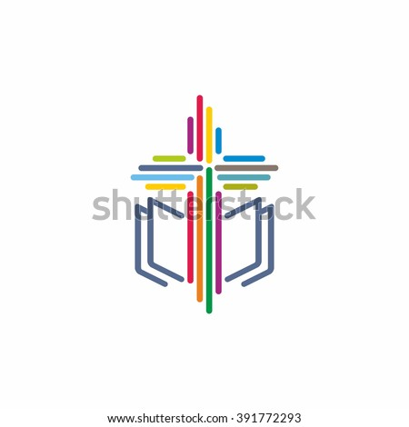 Logo church. Christian symbols, the Bible and the Cross of Jesus Christ
