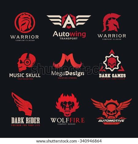 logo collection set automotive skull rock wing warrior sound bike motorcycle motorbike t shirt tattoo fox lion eagle animal crest crests