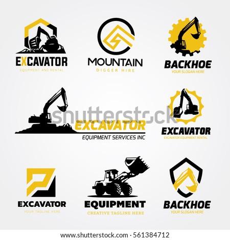 logo collection set of Backhoe excavator equipment service template.