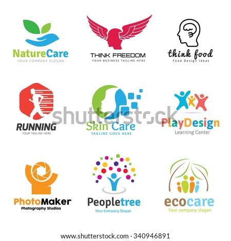 logo collection set people idea kids photography spa yoga healthy beauty eco care school brain inspiration education template