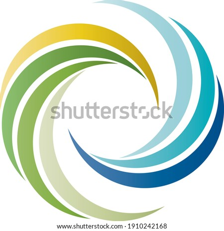 Logo - color wheel made of natural colors from nature, water, sun, air, earth, using sustainable and ecological energies, renewable energies, energy transition, vector, isolated  Photo stock ©