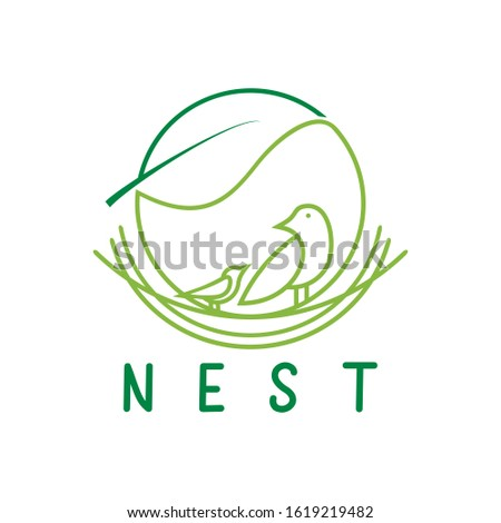Logo compilation between nests, birds and leaves. stock photo