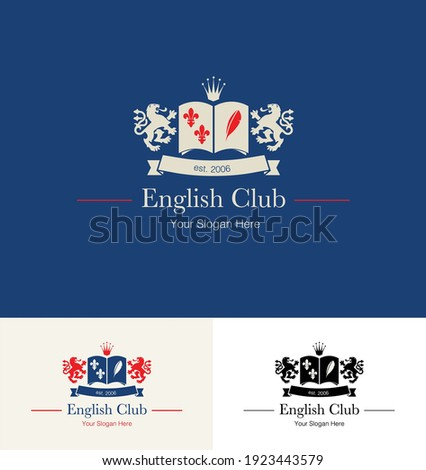 Logo concept for an English Language School. Vector illustration of an emblem for an English Learning Language Institute.  Photo stock ©