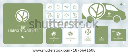logo, corporate image, logotype for a nurseryman, landscaper, gardener, urban planner, branding Photo stock ©