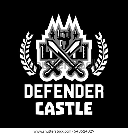 Logo defender castle. Fortress, tower, cross swords. Figure surrounded by a wreath. Black and white color sticker. Vector illustration. Flat style.
